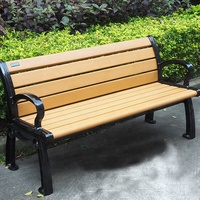 patio street furniture recycled plastic wooden long garden outdoor bench with cast aluminum legs