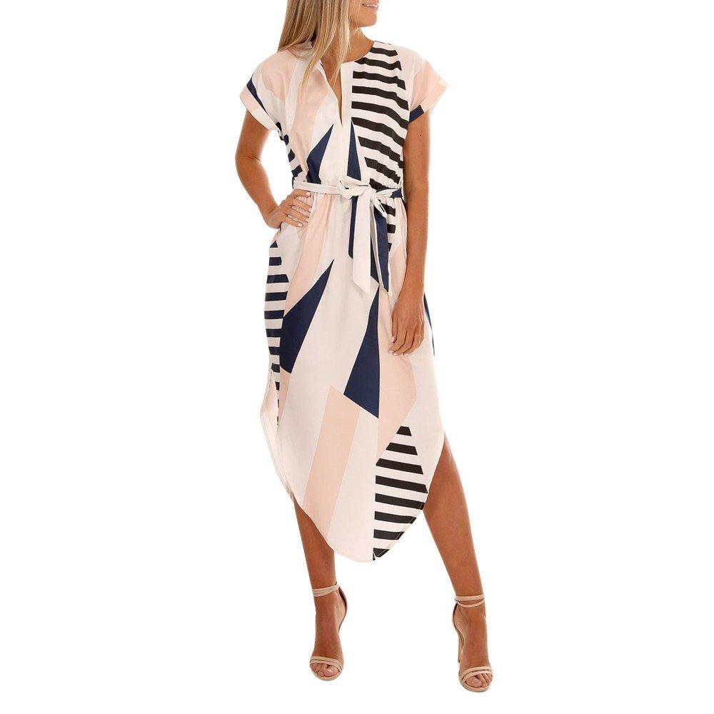 446352b73e1 Get Quotations · Tanhangguan Women s Teen Girls Geometry Print Short Sleeve  Irregular Summer Casual Party Maxi Dresses with Belt