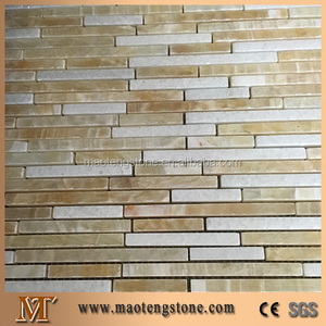 Thin Random Strip Onyx Mosaic Tile For Kitchen Backsplash