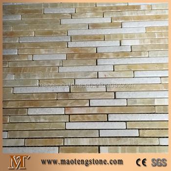 Thin Random Strip Onyx Mosaic Tile For Kitchen Backsplash