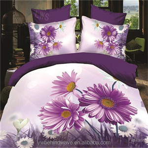 2017 professional polyester printed bed cover flat bed sets