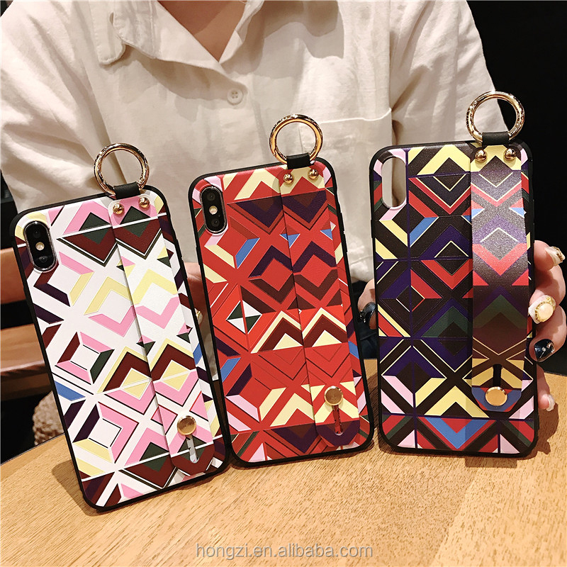 2019 Wrist Strap Phone Case For iphone 7 8 6 6 s plus Case For iphoneX Xs max XR Relief Flower Floral Pattern Soft TPU Case
