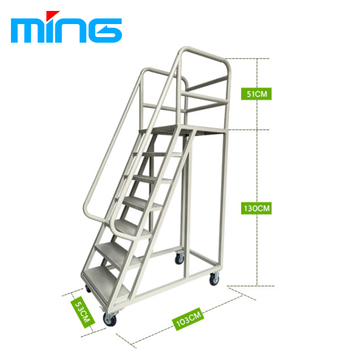Superior Warehouse Supermarket Ladder Truck Moveable Stairs Rolling Ladders
