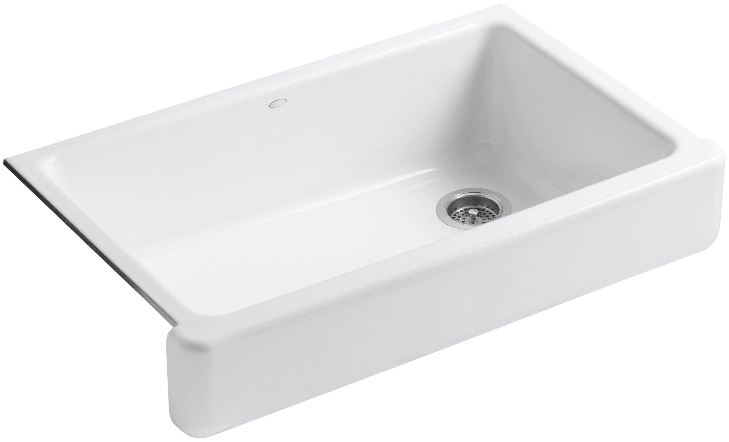 KOHLER K-6488-0 Whitehaven Self-Trimming Apron Front Single Basin Sink with Short Apron, White