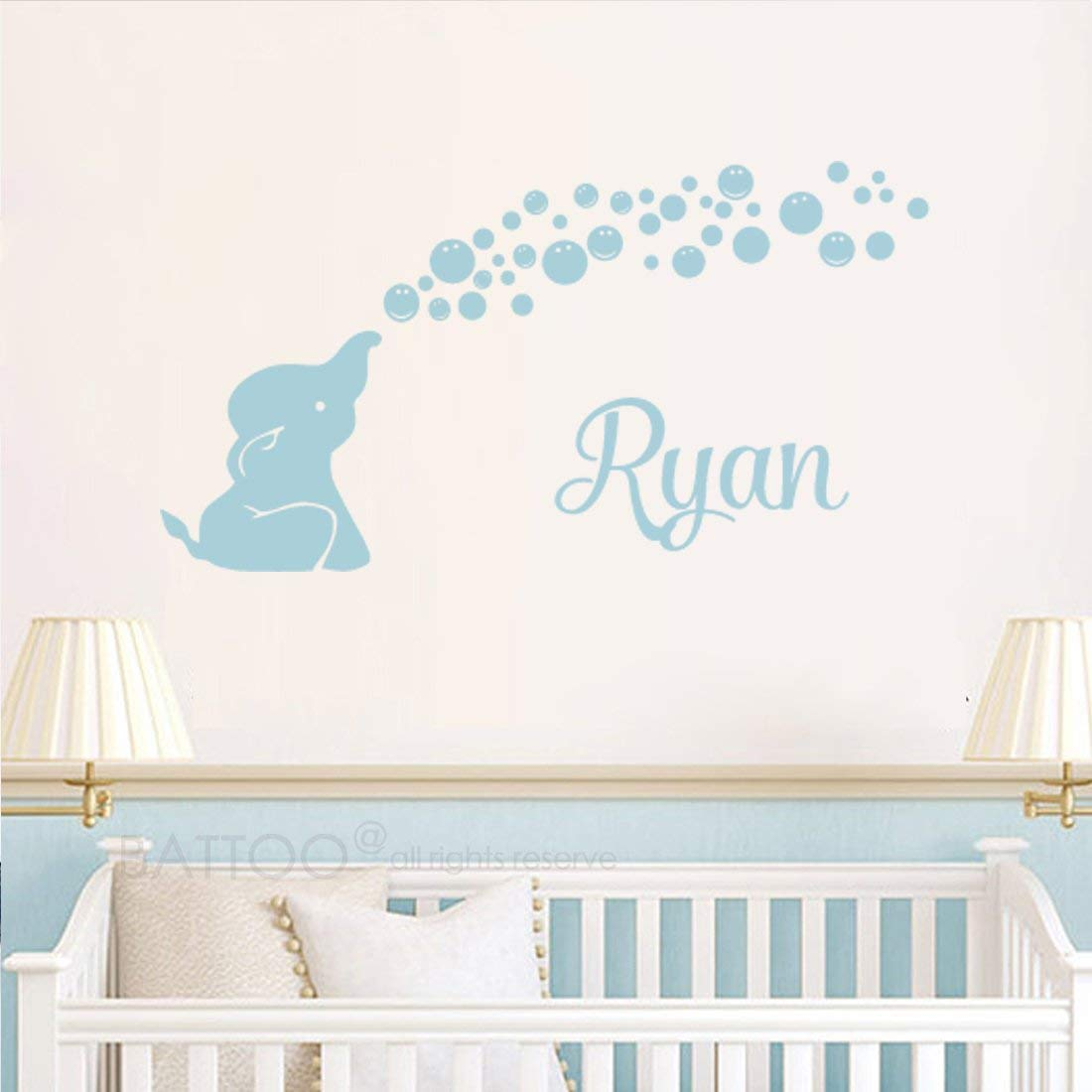 BATTOO Elephant Name Wall Decal, Personalized Name Wall Decal, Boys Girls Wall Decal, Nursery Decor, Vinyl Wall Decal, Elephant Decal
