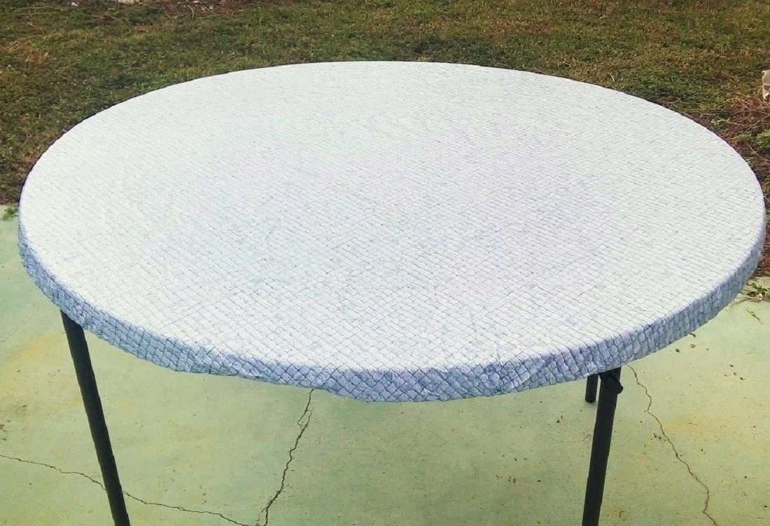 "Fitted Round Elastic Edge Mosaic Vinyl Tablecloth Table Cover fits 36"" to 48"" BLUE"