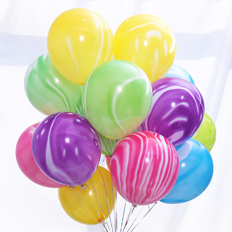 Agate Color  Birthday Wedding Party Decoration Air Helium Globos 12 Inch 3.2g Marble Patten  Latex Balloons For Party Decoration