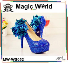 MAGICWORLD ROYAL BLUE SATIN 12CM WEDDING BRIDAL SHOES