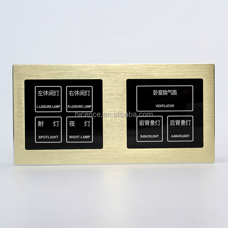 Luxury Hotel Room Golden Brushed Aluminum Alloy Frame Bedside Touch 2 in 1 Control Switch Panel