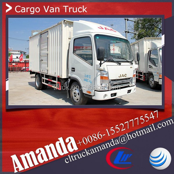 JAC 4*2 box truck body, 120hp box body truck, 2 ton small box truck for sale