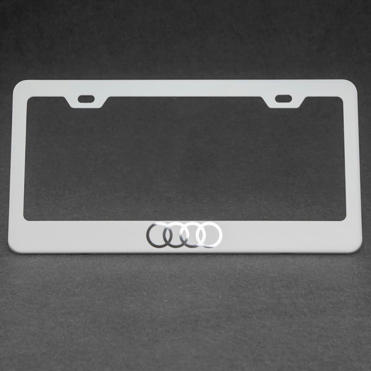 One Matte White Audi Logo Mirror Stainless Steel License Plate Frame Holder Front Or Rear Bracket