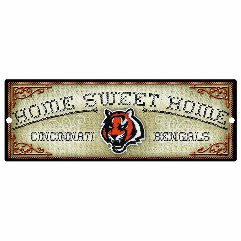"NFL Cincinnati Bengals 6-by-17 Wood ""Home Sweet Home"" Cross Stitch Sign"