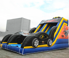 custom design inflatable slide/inflatable batman slide/inflatable slide with car F4042