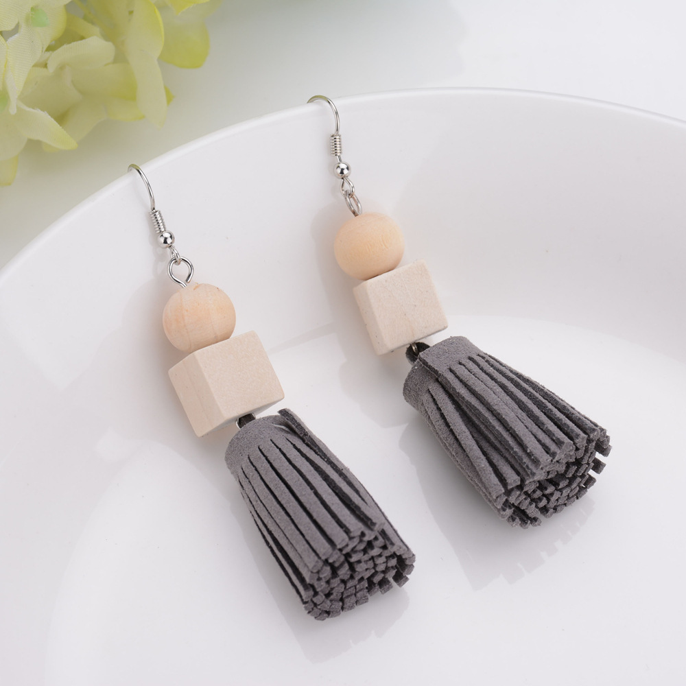 Fashion Style Square Wood Leather Tassel Pendant Stud Earring