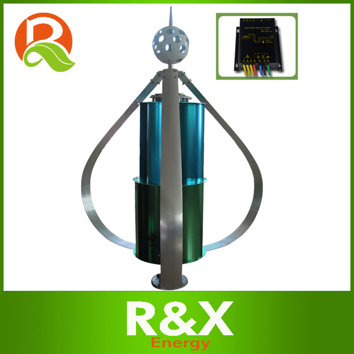 China wind generator 300W vertical windmill for street lamp. With wind/solar hybrid controller.
