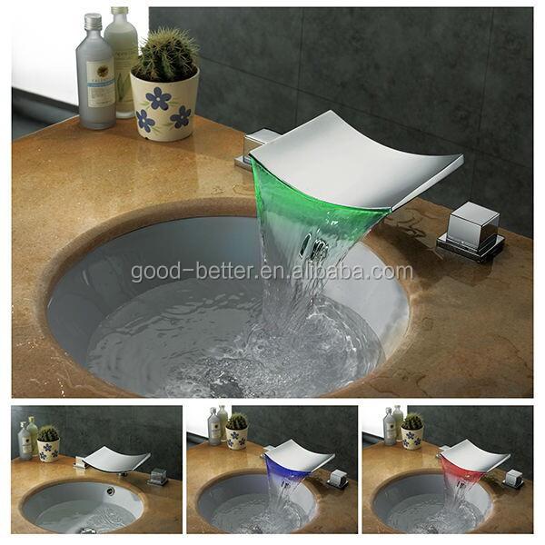 het hete verkopen mooie badkamer wastafel glas waterval kraan met led verlichting