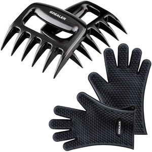 Silicone Gloves Meat Claws Heat Resistant Grilling Oven Gloves Mitts Set BBQ Cooking Gloves with Meat Shredder Mitts