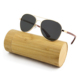 Premium Modern Wooden Sunglasses Cherry Red Laser Engraved Logo Metal Frame Wood Temples Sunglasses