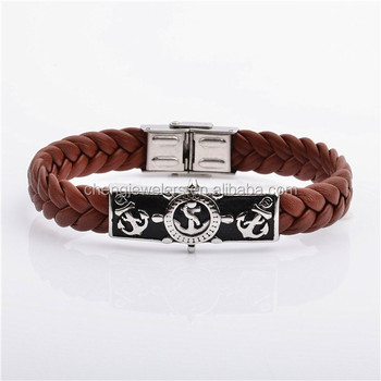 Pirates Of The Caribbean Anchor Rudder Comp Skull Swords Hook Nautical Expeditions Leather Bracelet