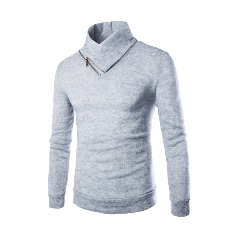 2015 Men Casual Turtlenck Pullover Long Sleeve Zipper Men Sweater Brand Casual Blusa Masculina Free Shipping Men Sueter