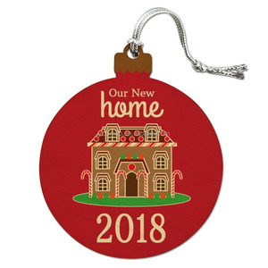 Our New Home 2018 Gingerbread House on Red Wood Christmas Tree Holiday Ornament