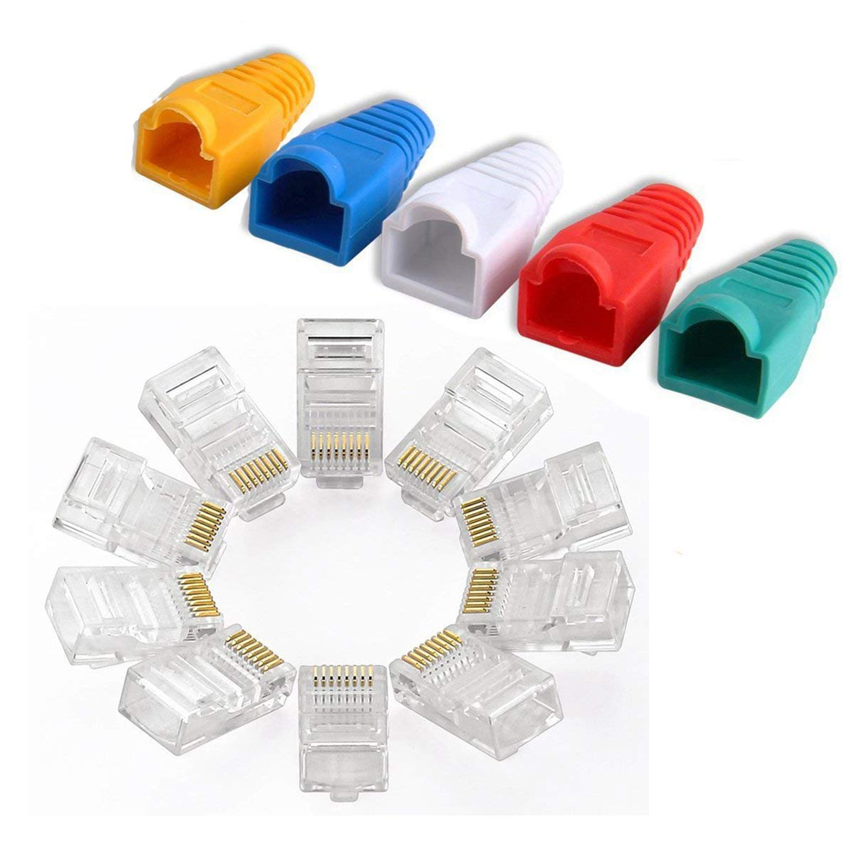 50 Pieces// Pack, Cat7 Swallow tail Fengyingzi RJ45 Connectors Cat5 Cat5e Cat6 Ethernet Cable Crimp Connectors Gold Plated Network Cable Modular Plug WD2895Q