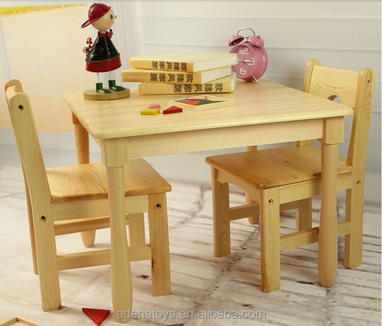 Square Table 2chairs Kids Writing Table Montessori Furniture Solid Wood Child Class Table
