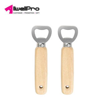 High Quality Wooden Handle Stainless Steel Beer Bottle Opener Smooth Rubber Wood Drinks Bottle Cap Opener For Home party/Bar
