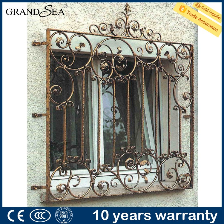 Latest modern house burglar proof iron window grill design for Iron window design house