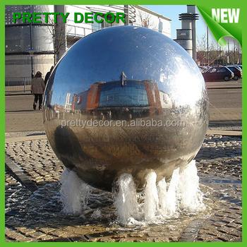 Stainless Steel Sculpture Water Fountain Garden Sphere