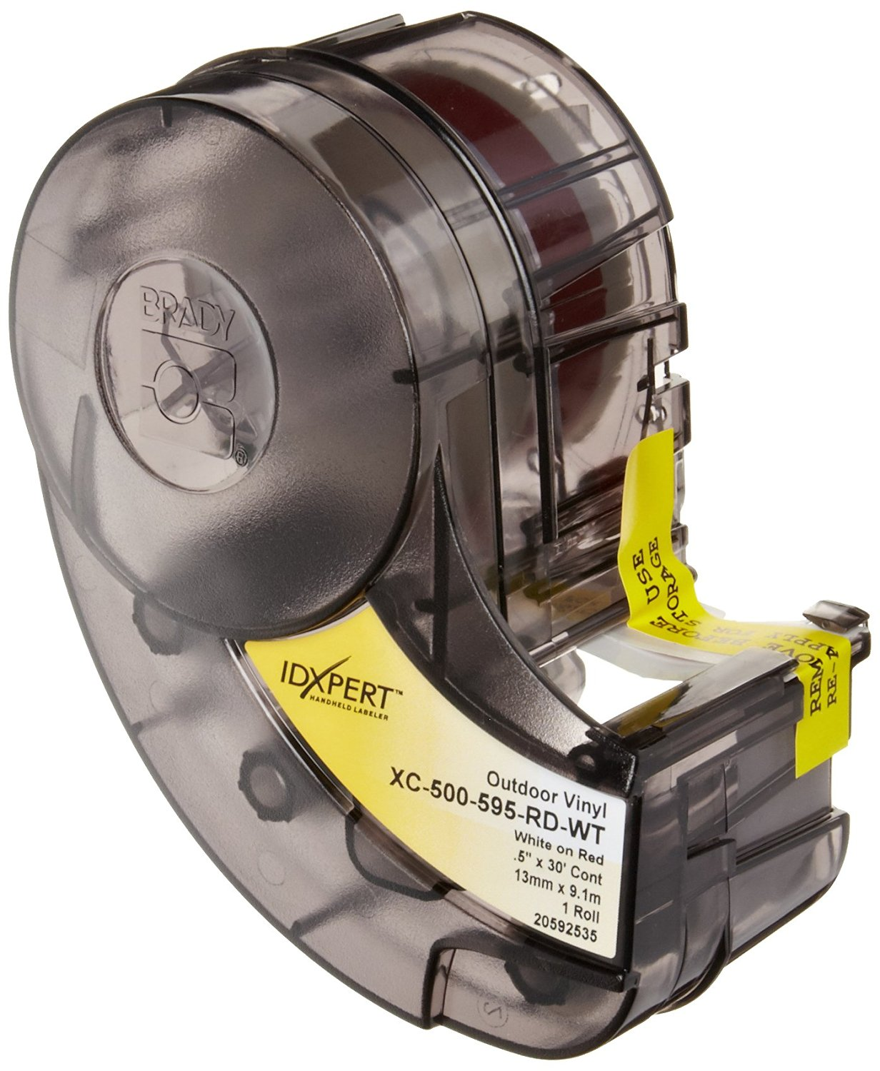 """Brady XC-500-595-RD-WT IDXPERT & LABXPERT Labels B-595 Indoor/Outdoor Vinyl Film White on Red, Printable Area: 19.000"""" W x 0.500"""" H 1 roll (30ft.)/Cartridge"""