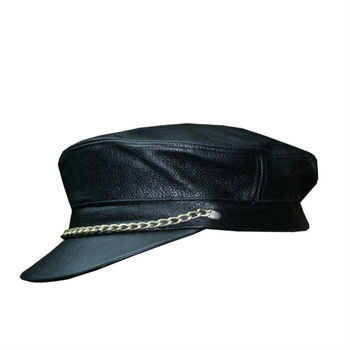Hmb-908b1 Leather Biker Hats Black Color Caps Chain Style - Buy ... 8926a934f48