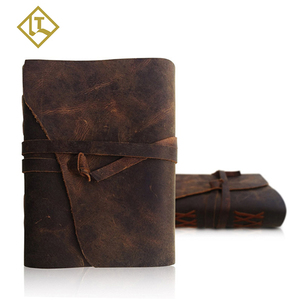 New arrival amazon handmade traveler vintage genuine leather personalized refillable diary printing journal custom notebook