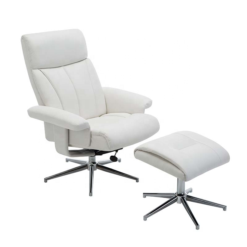 Swivel PU leather recliner chair with ottoman/footstool massage leisure chair