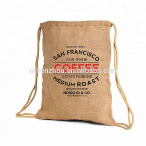 Fashion style custom logo printing small burlap bags natural jute drawstring backpack