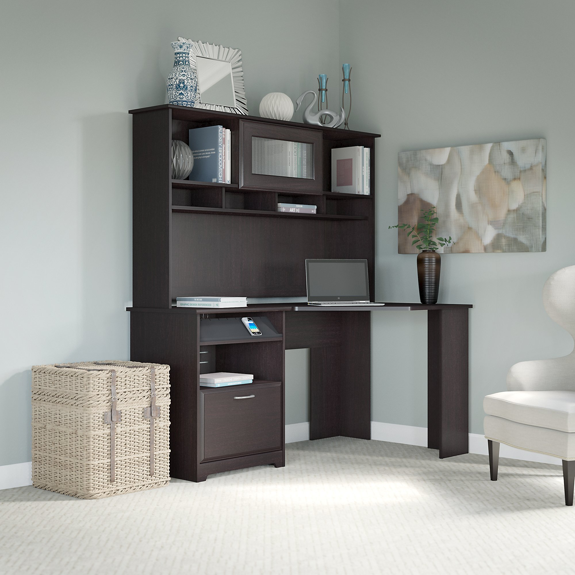 hayneedle maple honey with optional bookcases executive corner park master desk south cfm hooker computer furniture hutch product