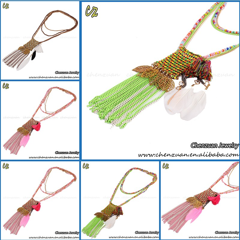 Ethnic Statement Necklace Jewelry gold chain Feather Tassel Pendant necklace