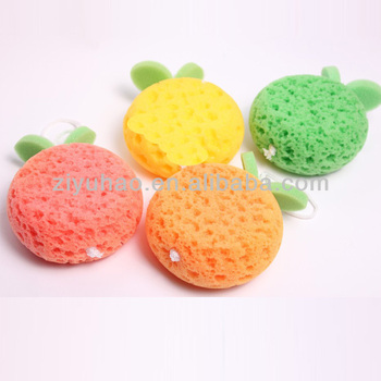 Promotional kids net bath sponge,heart shaped bath sponge