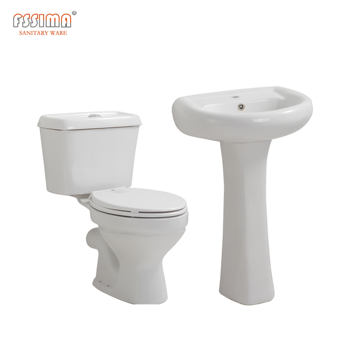 Factory direct selling toilet cheap price bathroom two piece ceramic toilet basin set