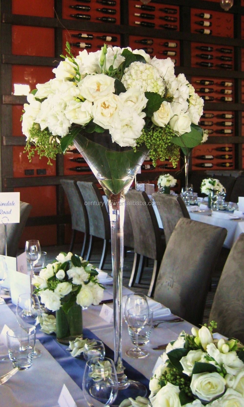 Long stemmed wholesale martini glass vases wedding