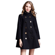 Winter Vrouwen Mode Groothandel Fancy Boutique Lady Wear Double Breasted Lange Mouwen Wollen Cape Jas Marine Mantel