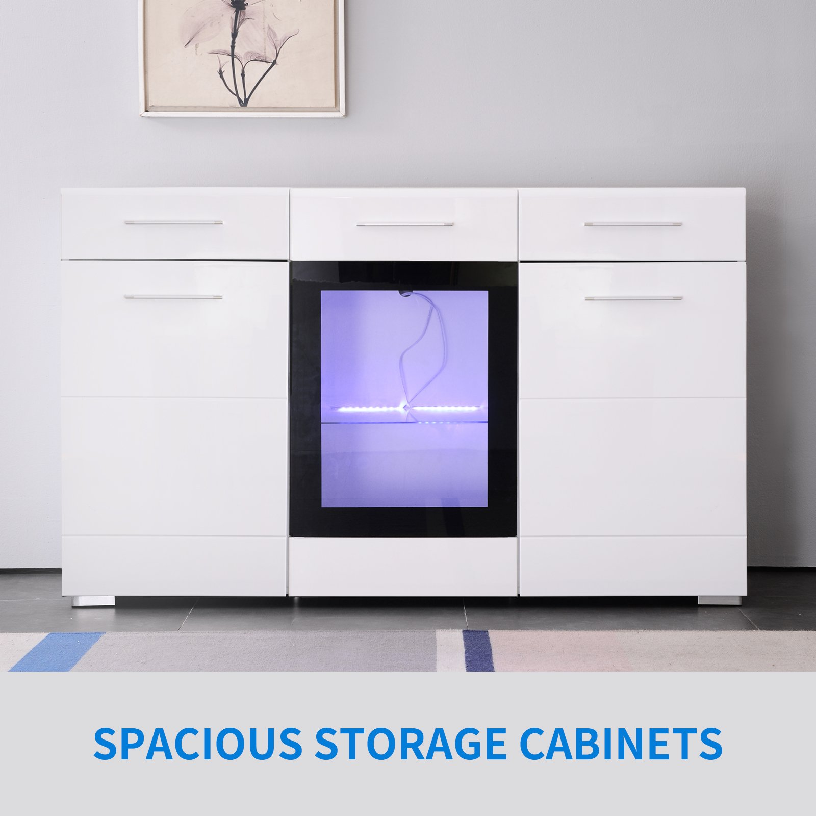 GTM Mecor Sideboard Cabinet Kitchen Cupboard Buffet Storage High Gloss LED Light with Control White (Drawers)