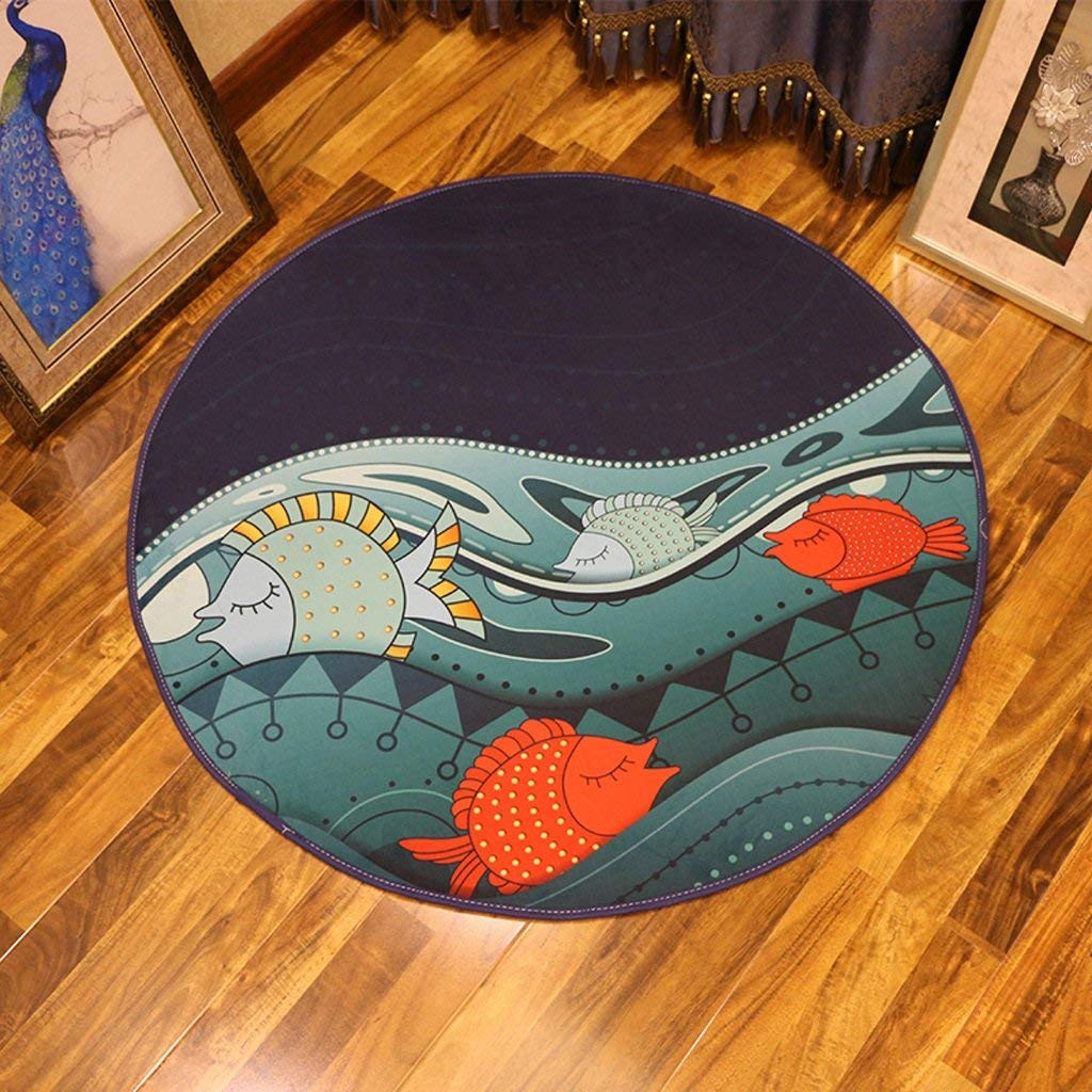 Carpet Cartoon small fish Bedroom Round Carpet,Children's Room Bedside Living Room Coffee Table Hanging basket Rug (Size : Diameter 160cm)