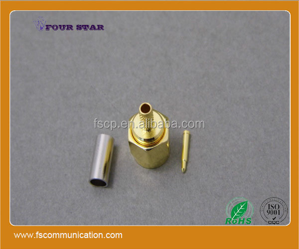 gold plated male plug crimp rf coaxial sma connector for rg174 cable