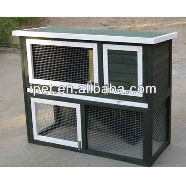 Easy clean wooden rabbit hutch White and Green Color with Plastic Floor RH018M