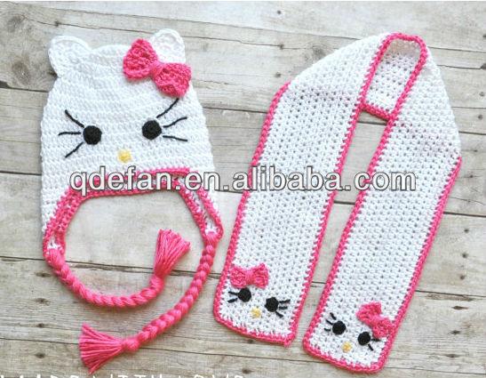 Niña querida crochet sombrero del gatito, Gatito bufanda,para el bebé o niño pequeño