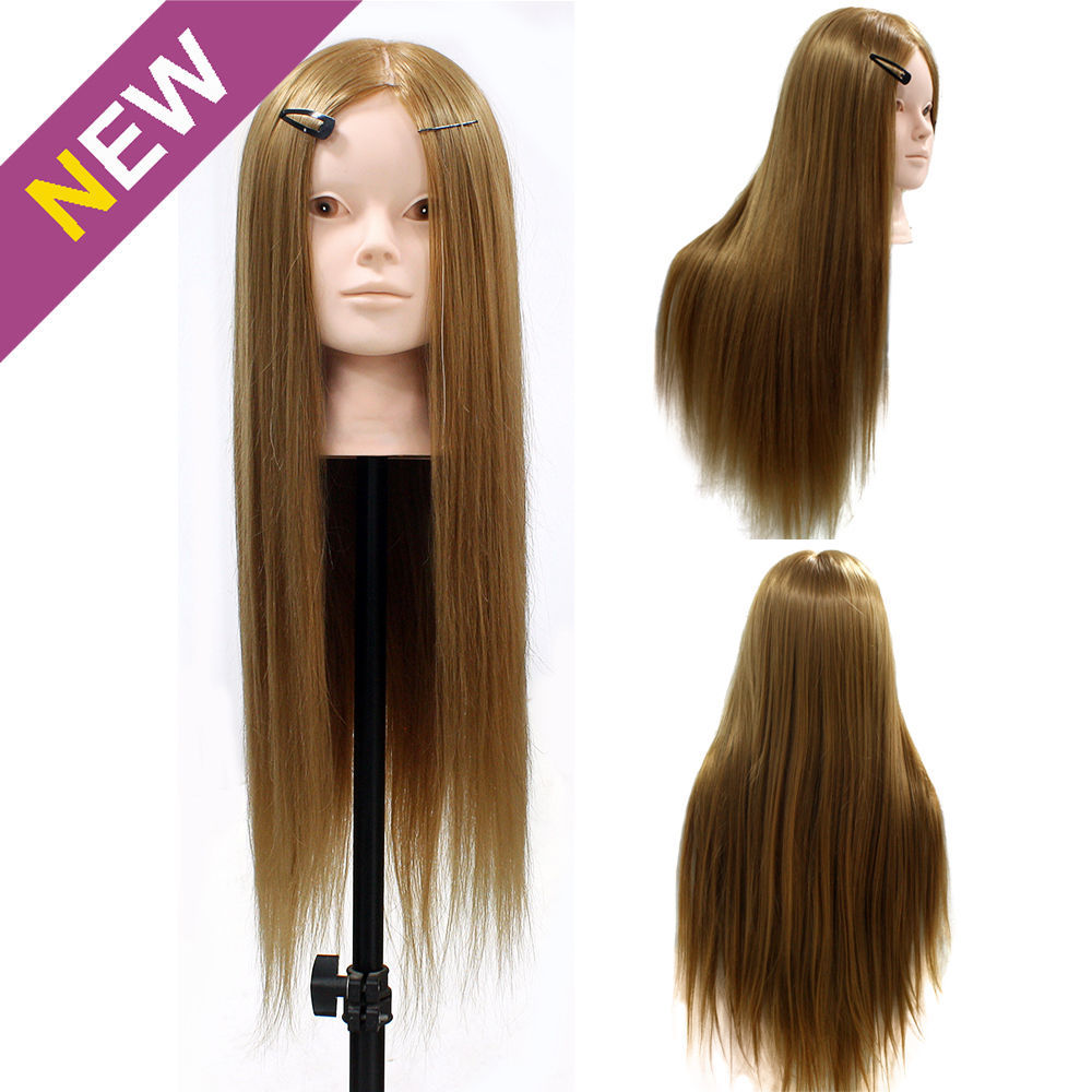 24 50 Real Human Hair Training Mannequin Head Cut Practice Model Makeup