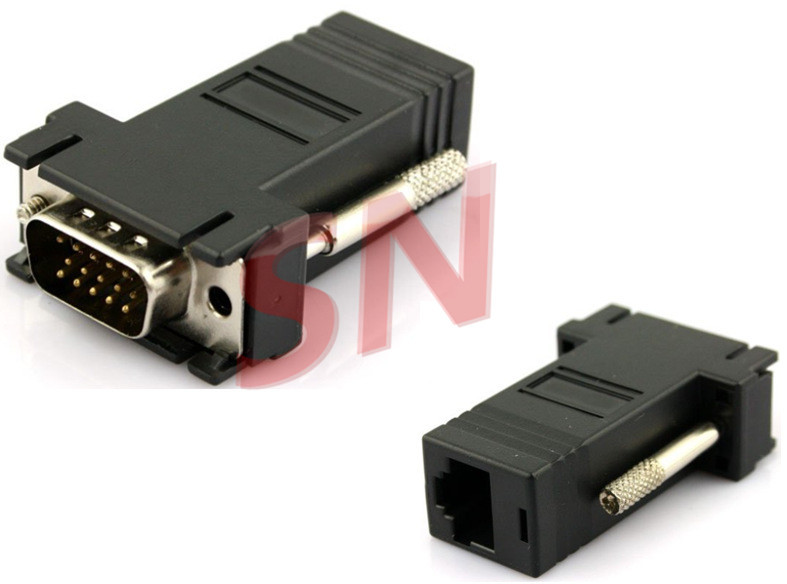 Assembly complete revolution DB15Pin RJ45 female adapter VGA M to RJ45 F
