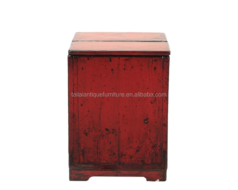 Red wooden trunk antique furniture