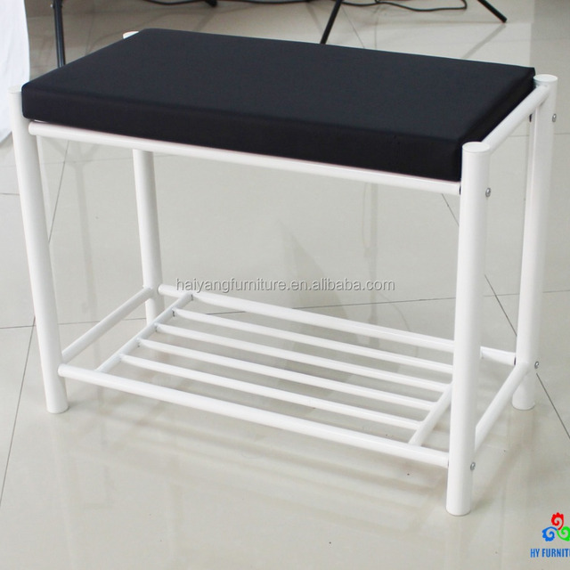 white metal tube shoe rack with seat wholesale
